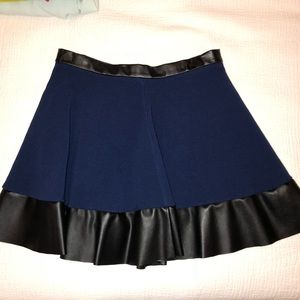 Navy Blue + Leather Topshop Skirt